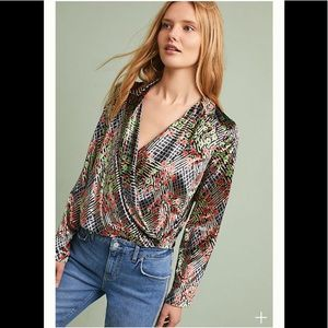 ‼️Anthropologie Velvet Wrap Top‼️ NWT 2